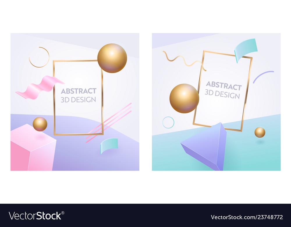 Abstract geometric figure frame 3d banner set