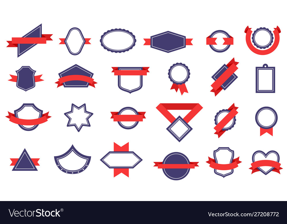 Badges with ribbons different shapes award
