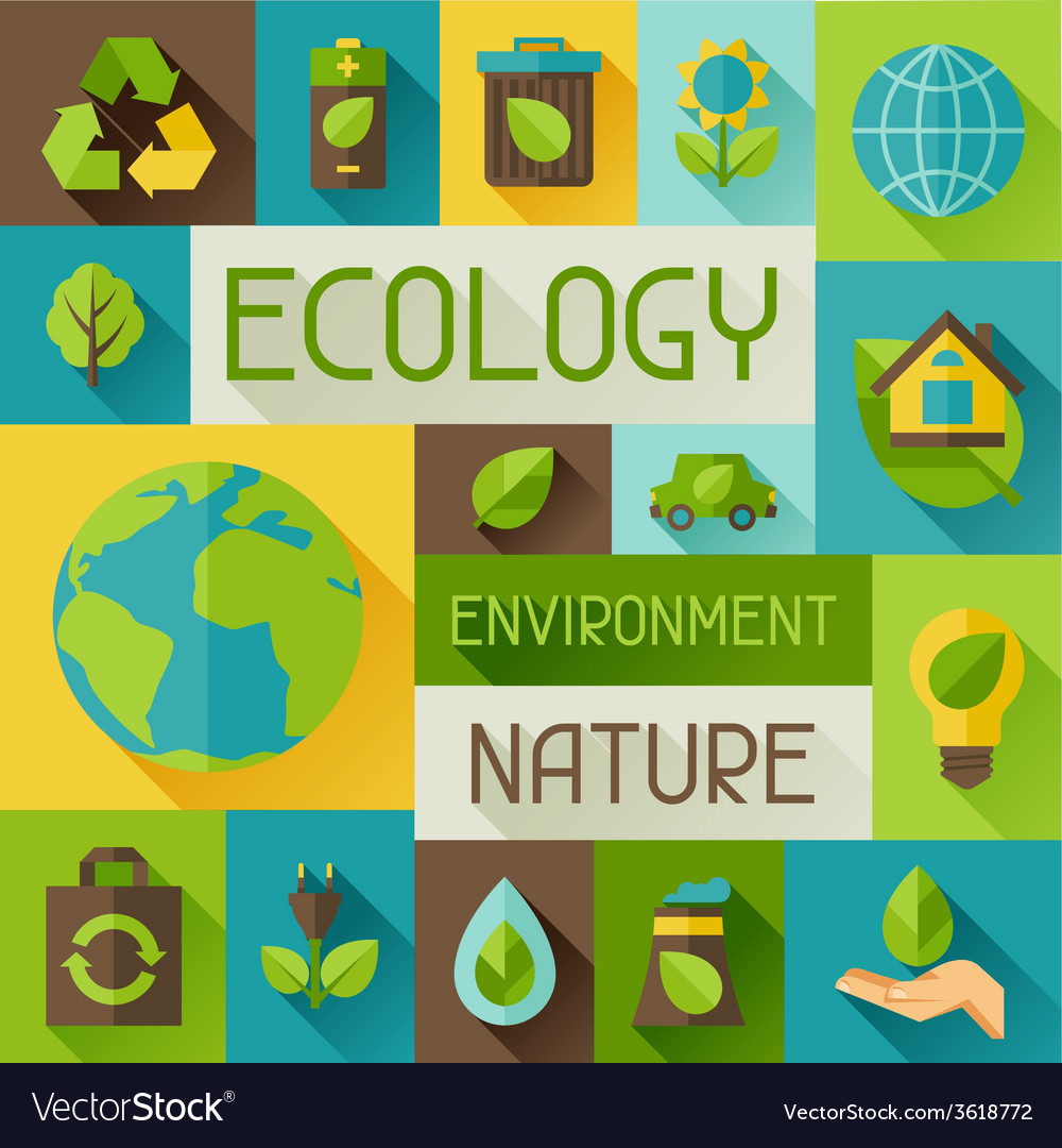 Ecology background with environment icons