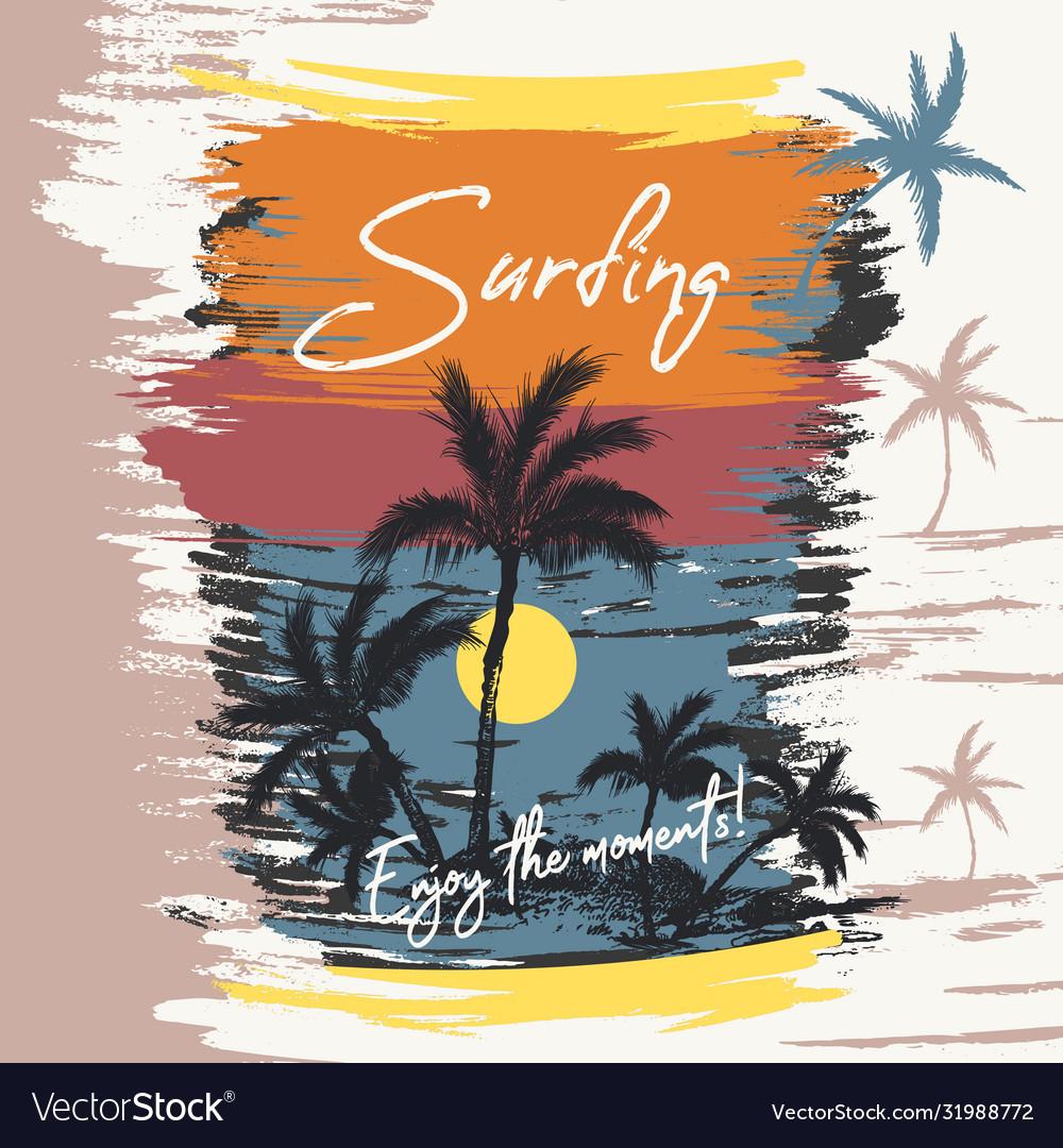 Fashion beach palms sea sunset surfing