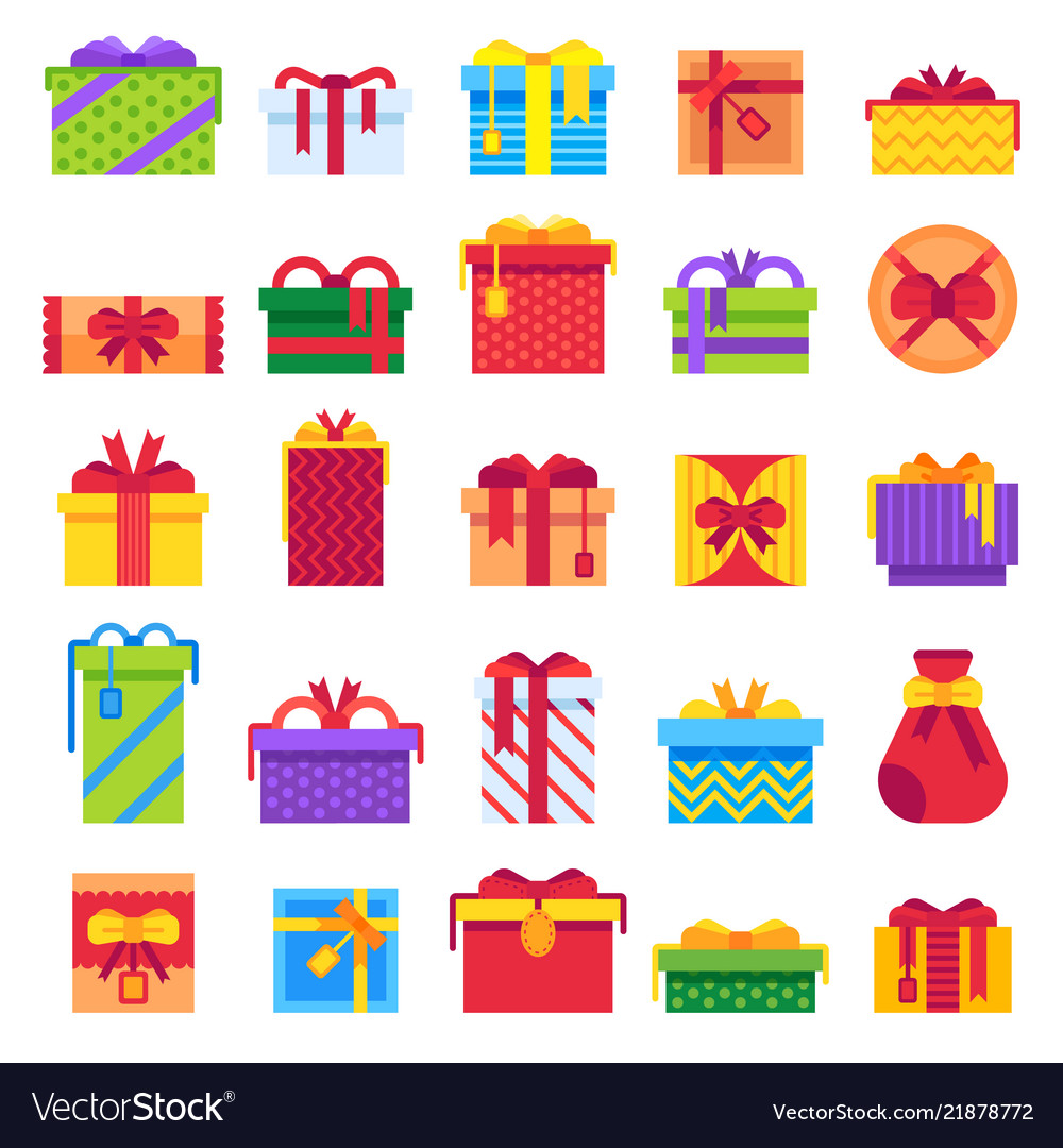 Flat christmas gifts winter holiday surprise vector