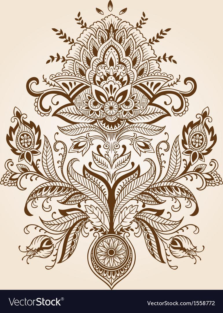 Henna paisley flower
