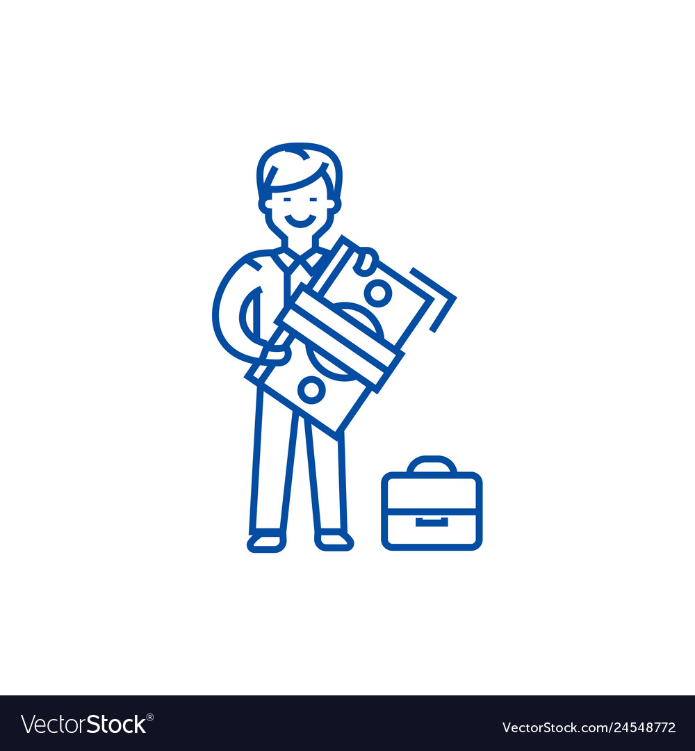 Man with big money and suitcase line icon concept
