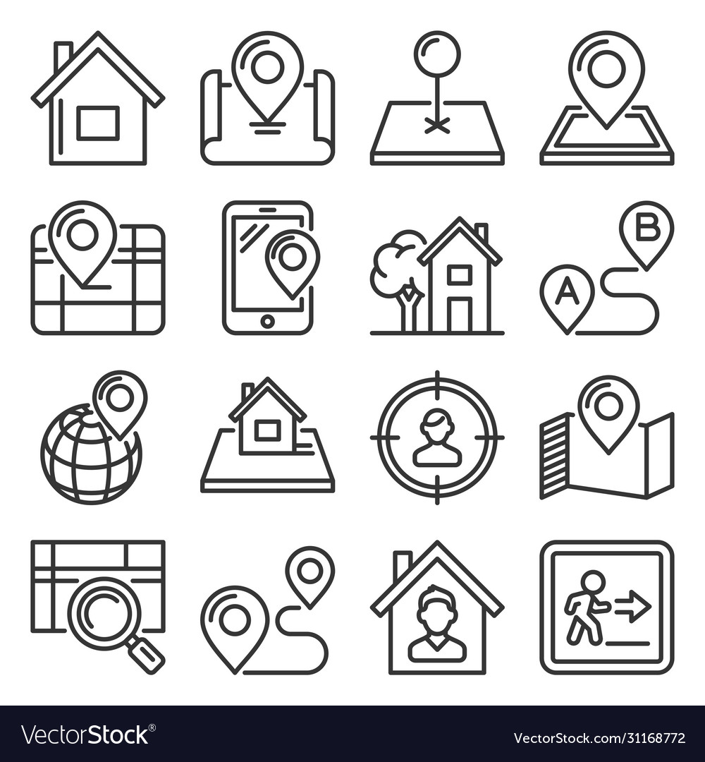 Maps and home location icons set line style