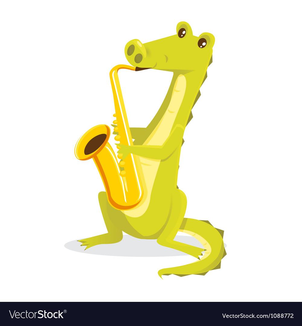 Musical animals Crocodile Saxaphone vector image
