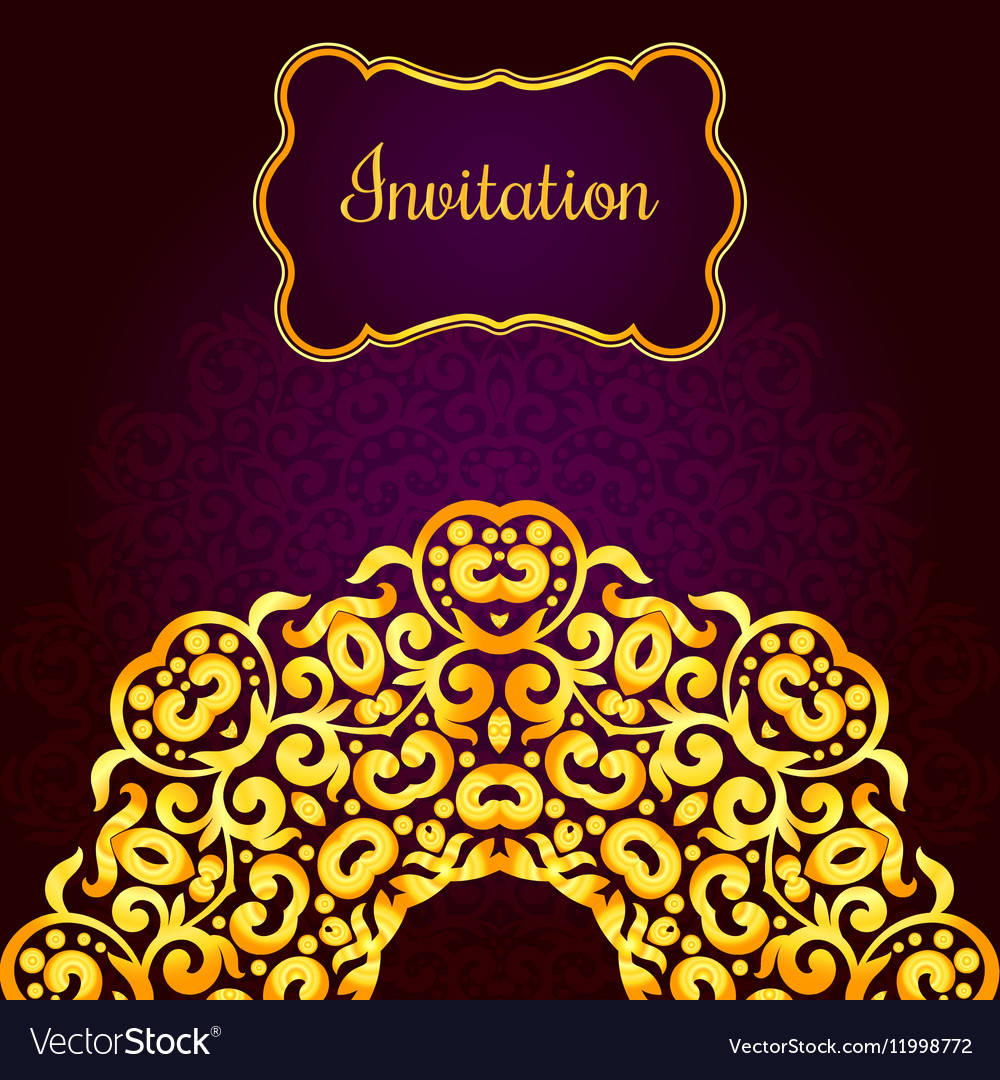 Rich Gold Invitation Card In The Indian Style