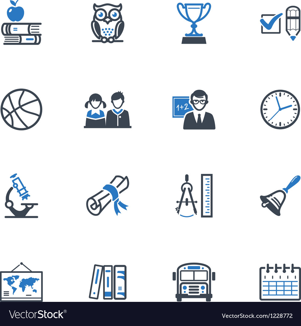School and Education Icons Set 3 - Blue Series vector image