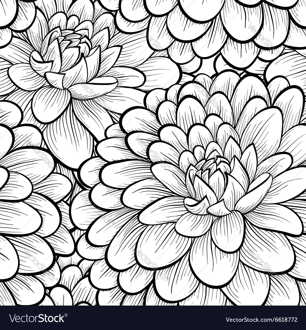 Seamless background with black and white flowers