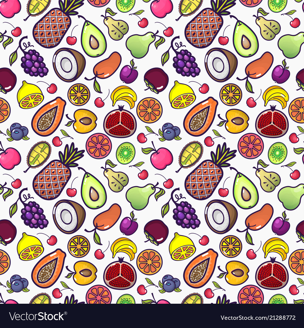 Seamless background with various tropical fruits