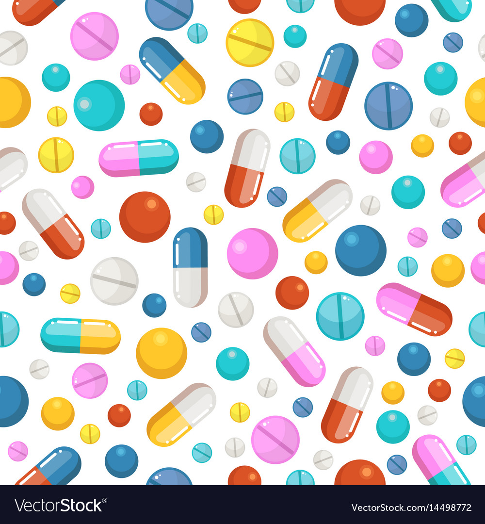 Seamless pattern of pills and other
