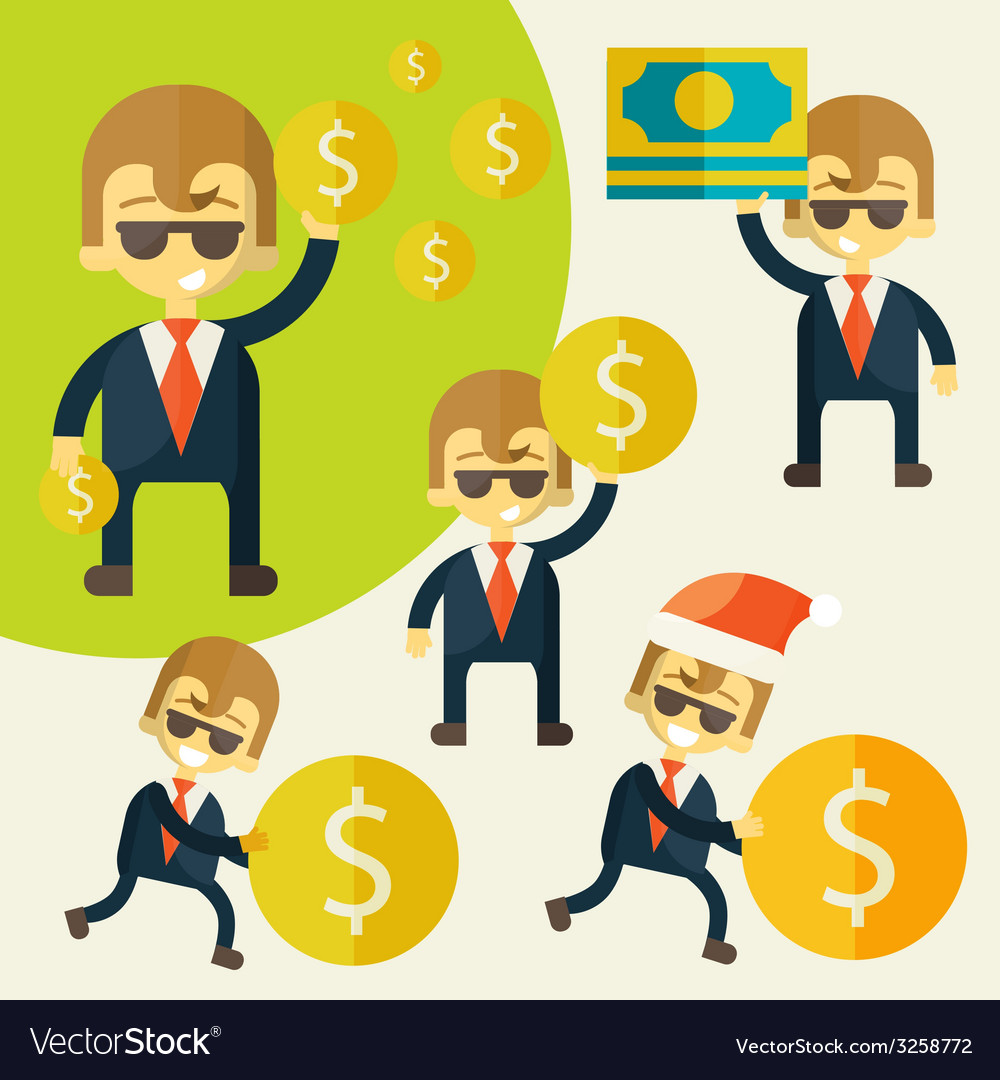 Set of cheerful businessman with his money