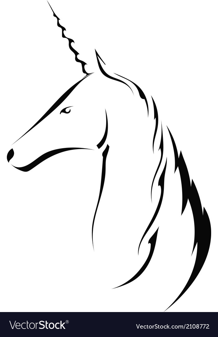 Silhouette head with a unicorn vector image