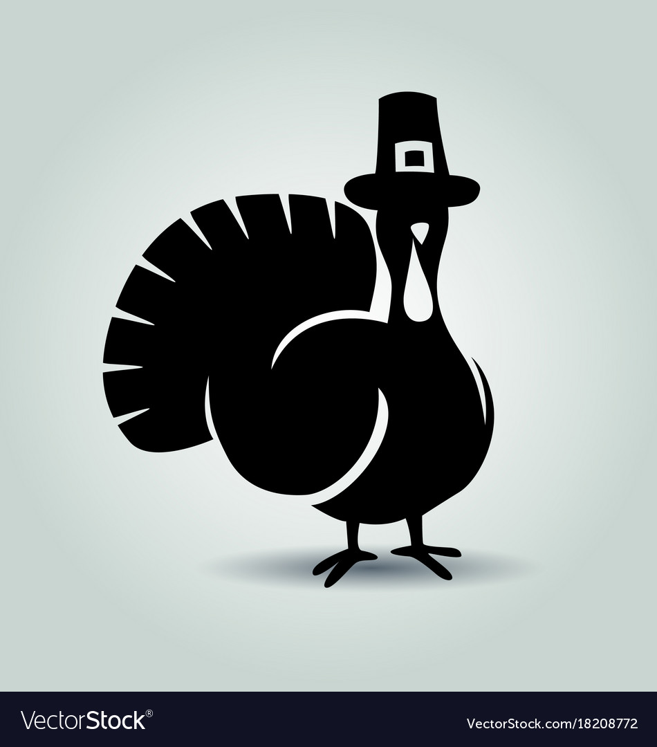 silhouette of turkey thanksgiving day royalty free vector