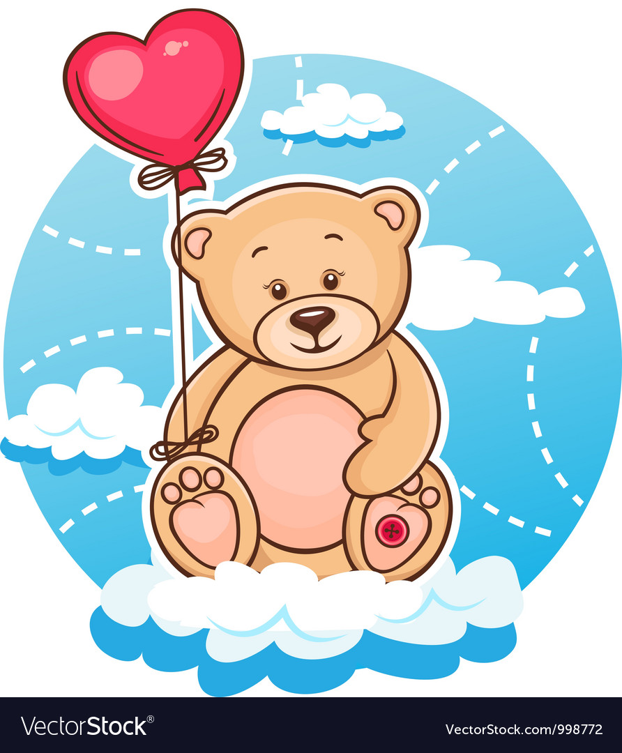 Valentine teddy with balloon vector image