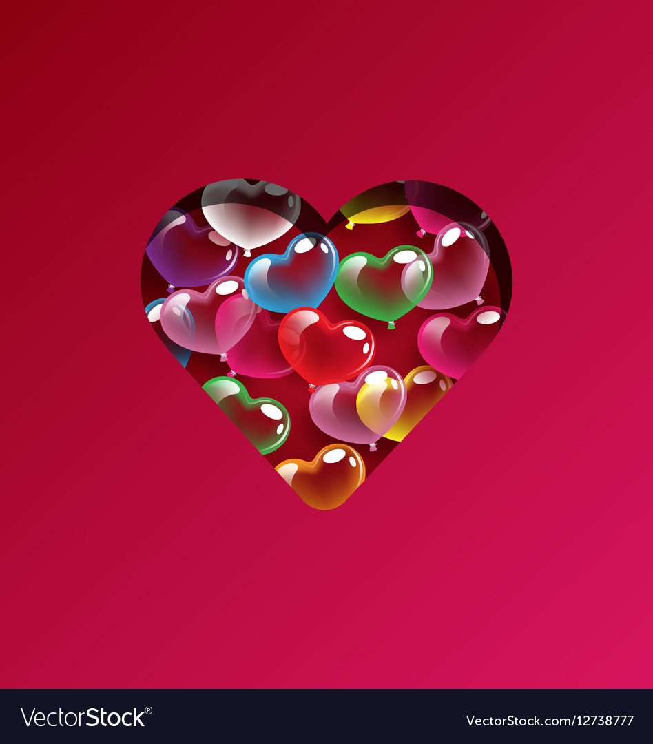 Abstract colorful heart balloons design elements