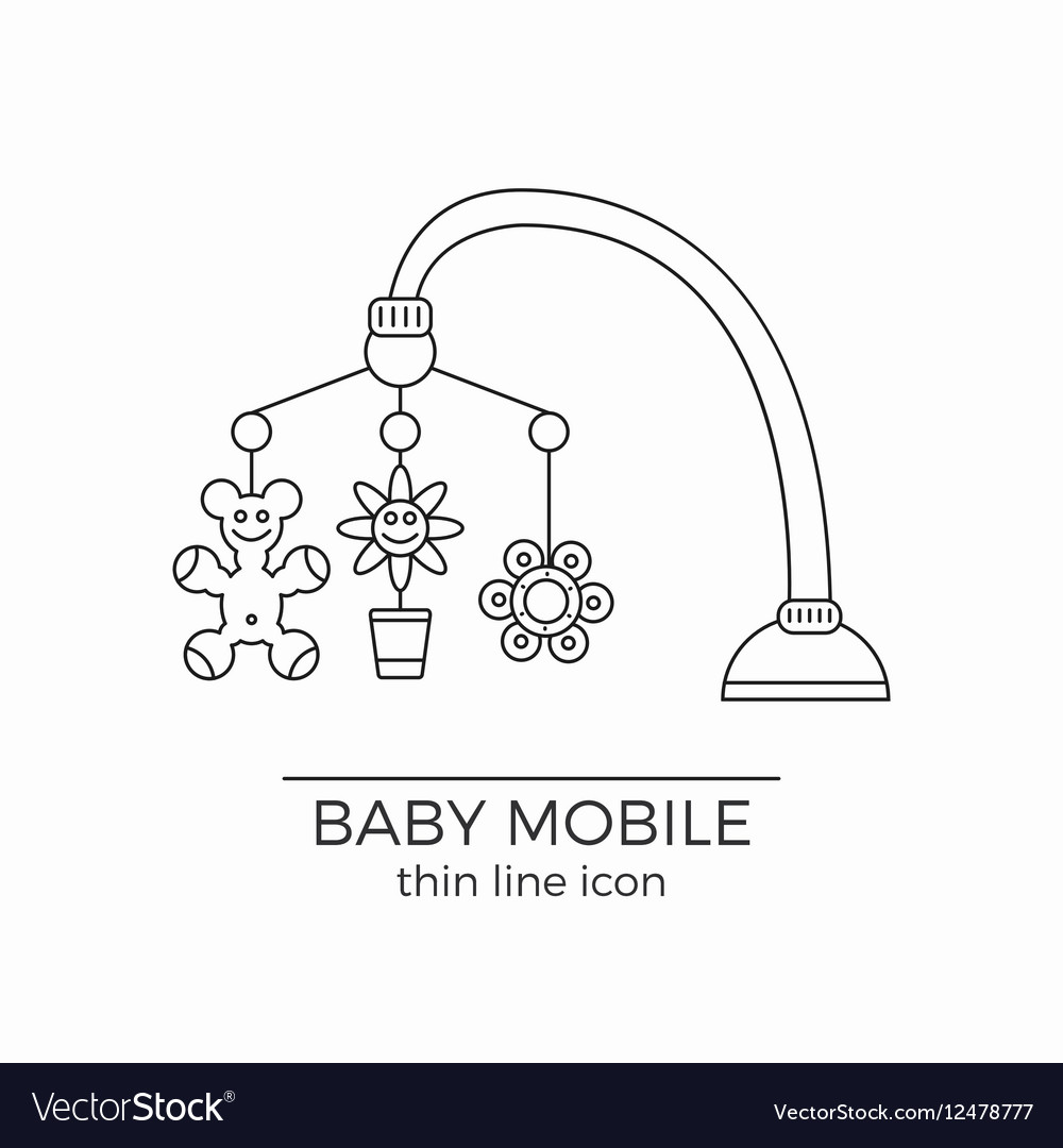Baby crib hanging toy line icon