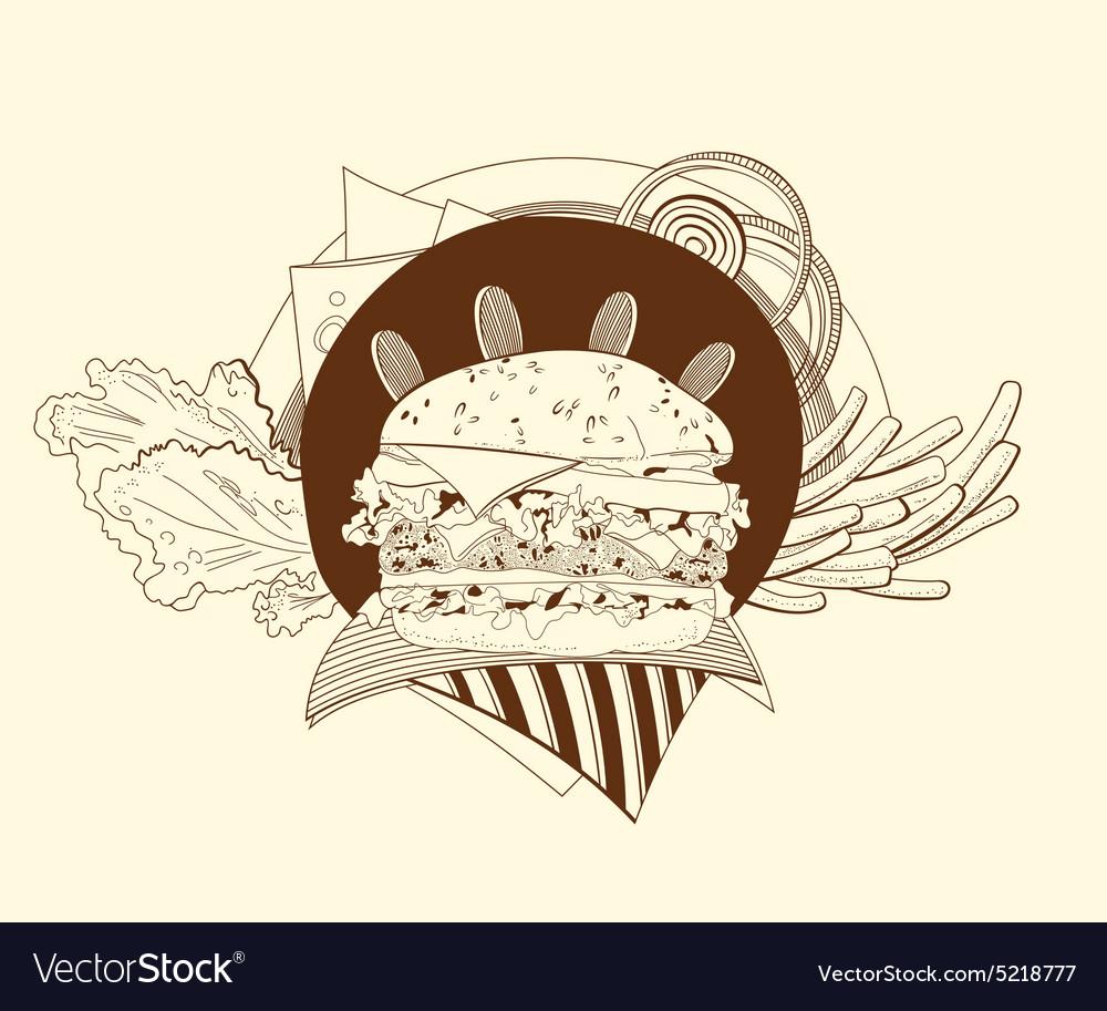 Cheeseburger fries salad onion vector image