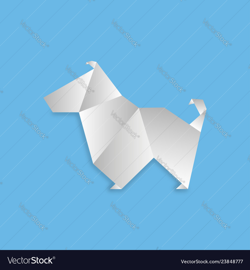 Dog in origami style