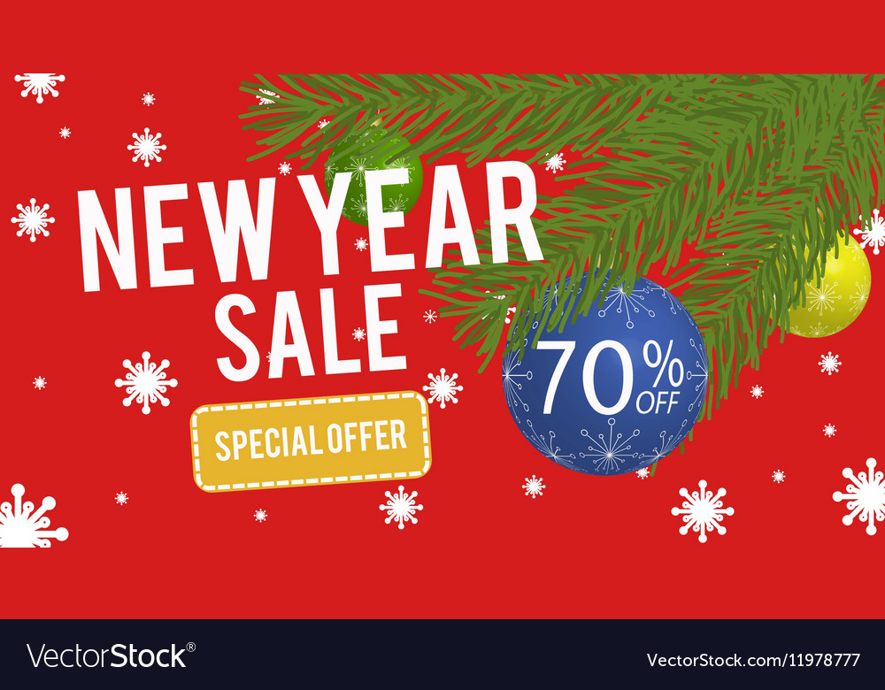 happy new year sale banner with 70 percent vector image