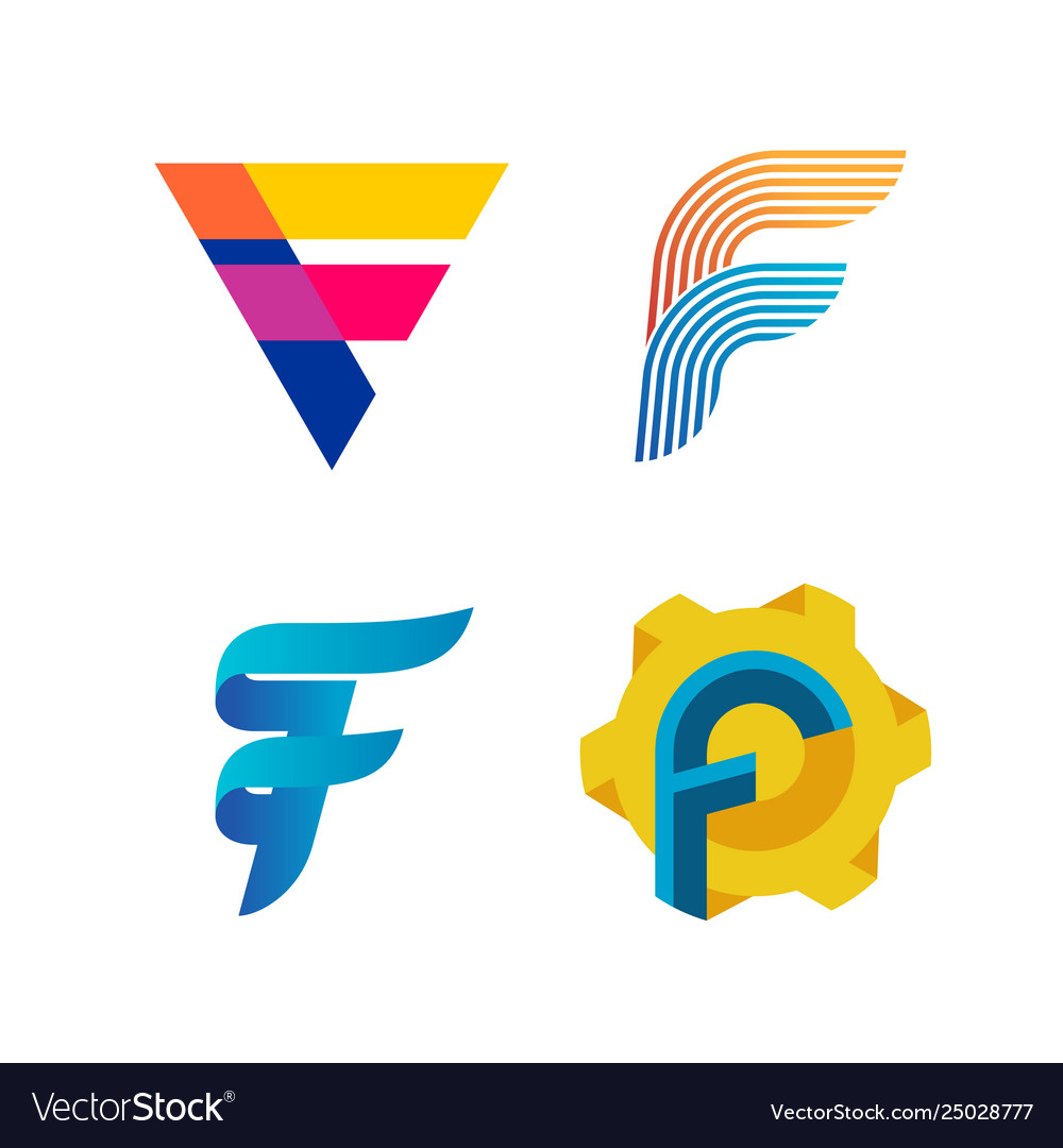 Letters f logo set different style and colors f