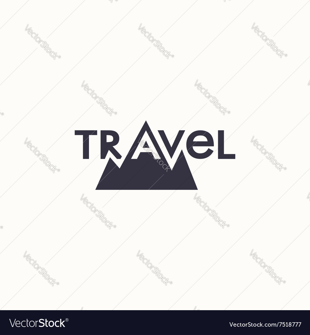 logo with word travel and mountains royalty free vector