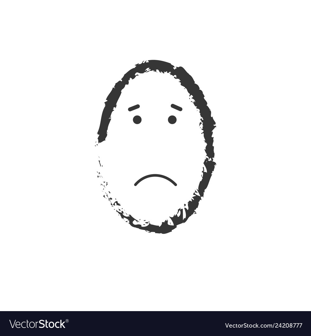 Sad egg shaped face drawing isolated on white