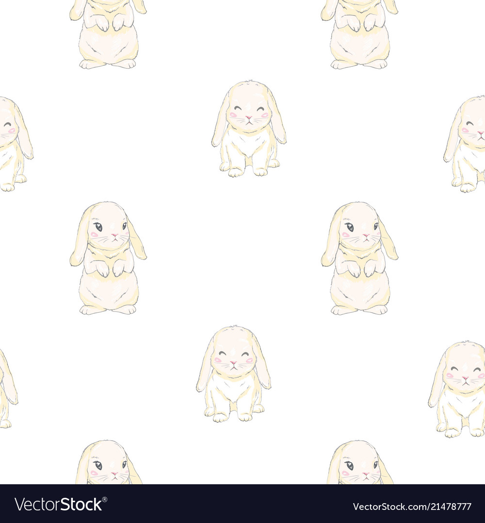Seamless pattern with cute cartoon bunny baby
