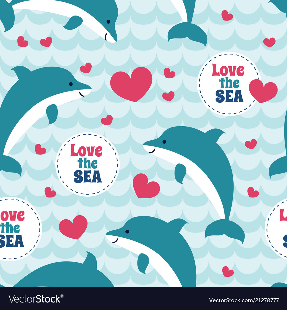 Seamless pattern with flock of dolphins for cards