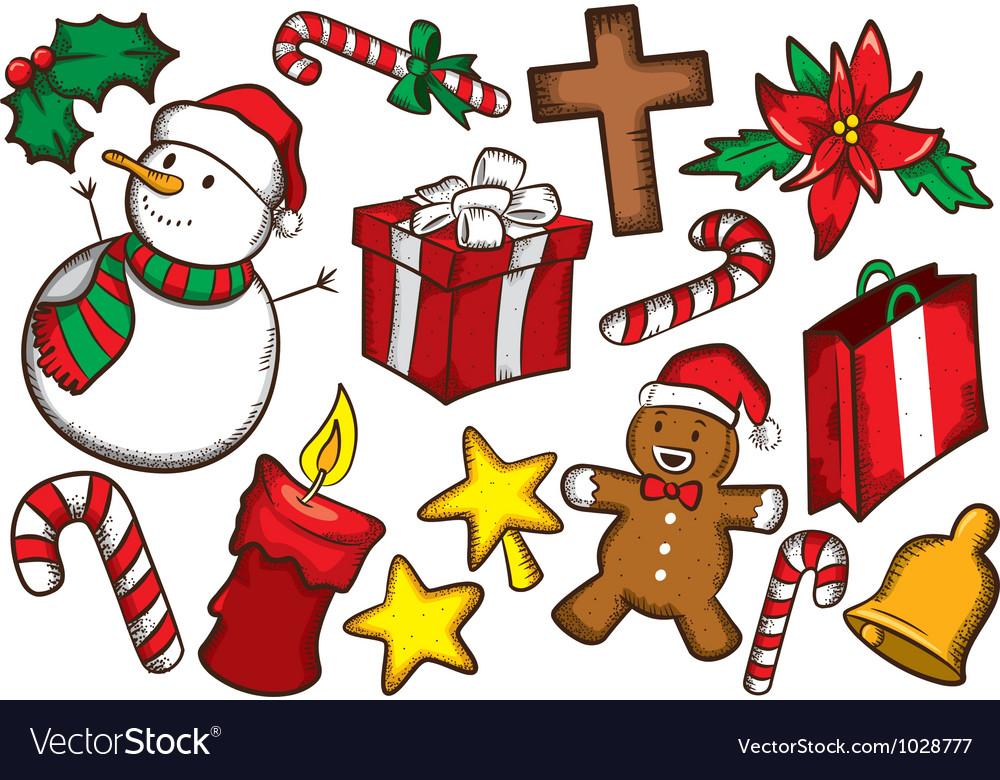 Set of colorful christmas stuff