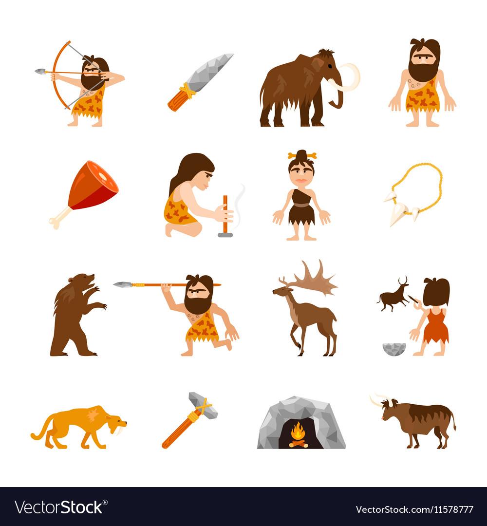 Stone Age Icons Set vector image