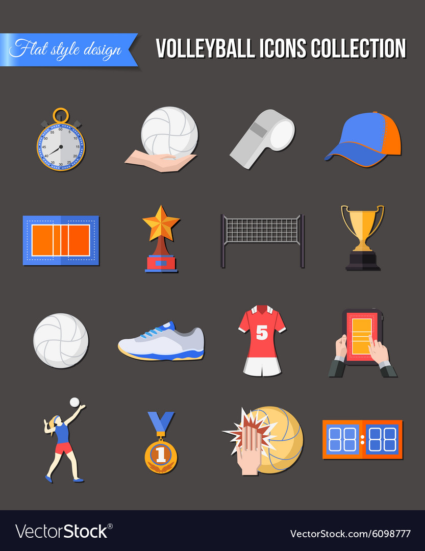 Volleyball icons set Flat style design Cup