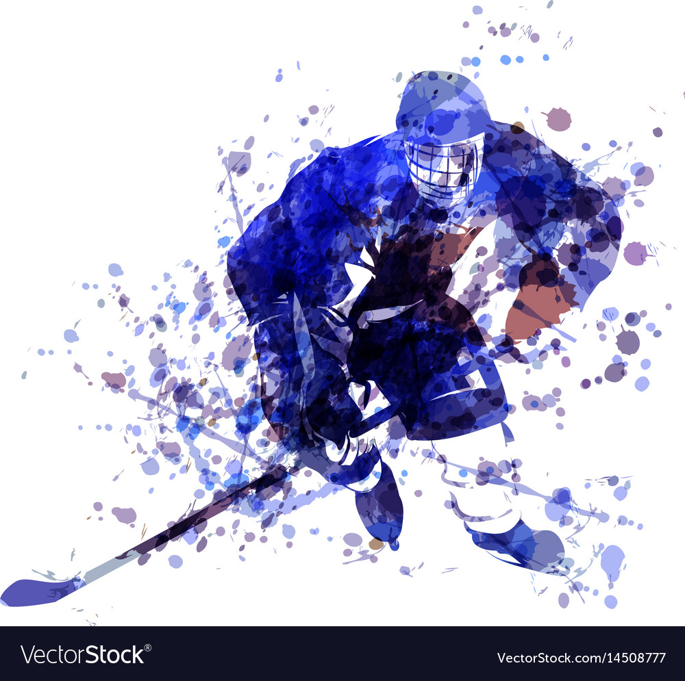 Watercolor of hockey player