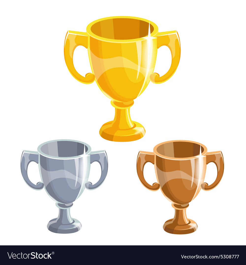 Winner cups set vector image