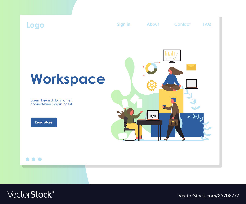 Workspace website landing page design