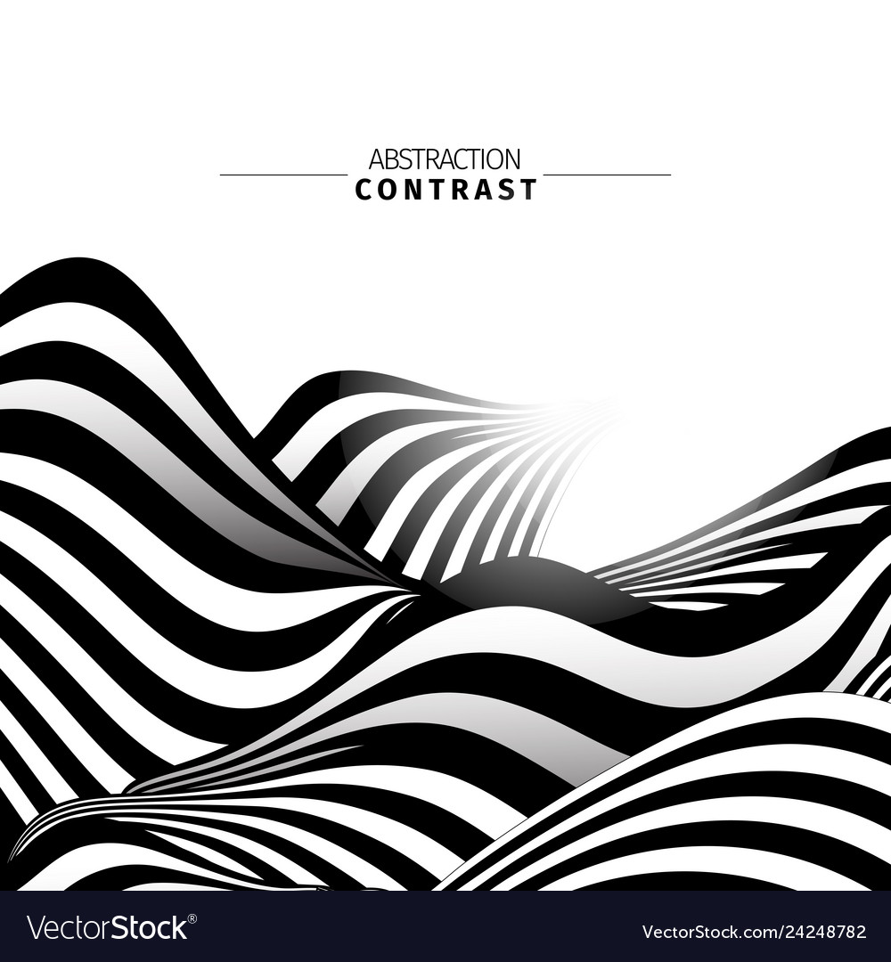 Abstract black and white waves color background
