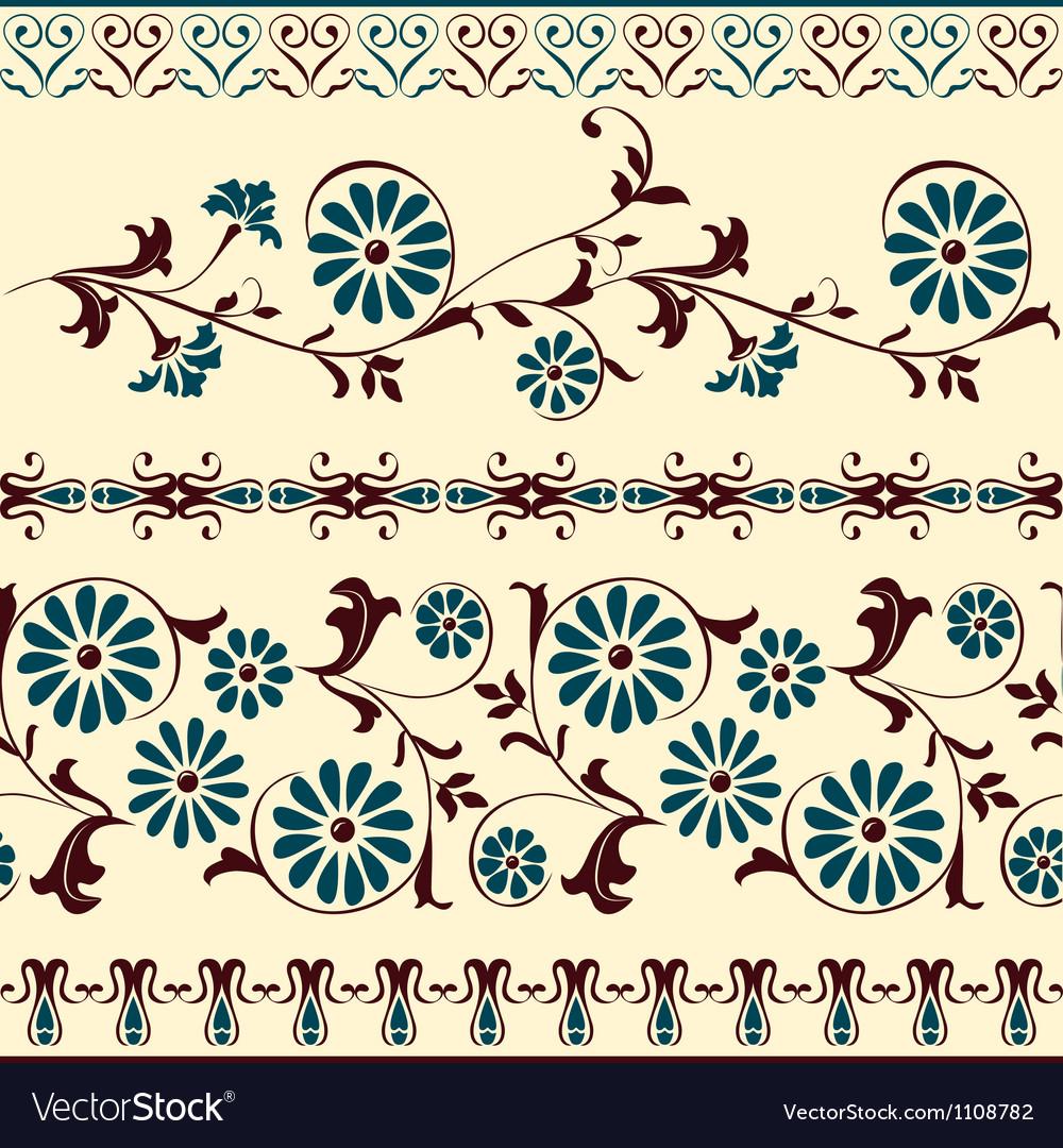 Blue Brown Motiv Decorative Floral Elements Vector Image