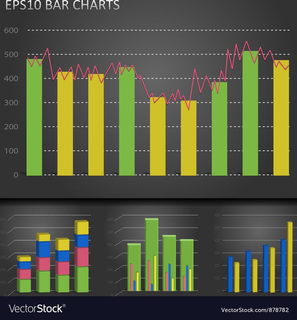 Graph bar chart vector image