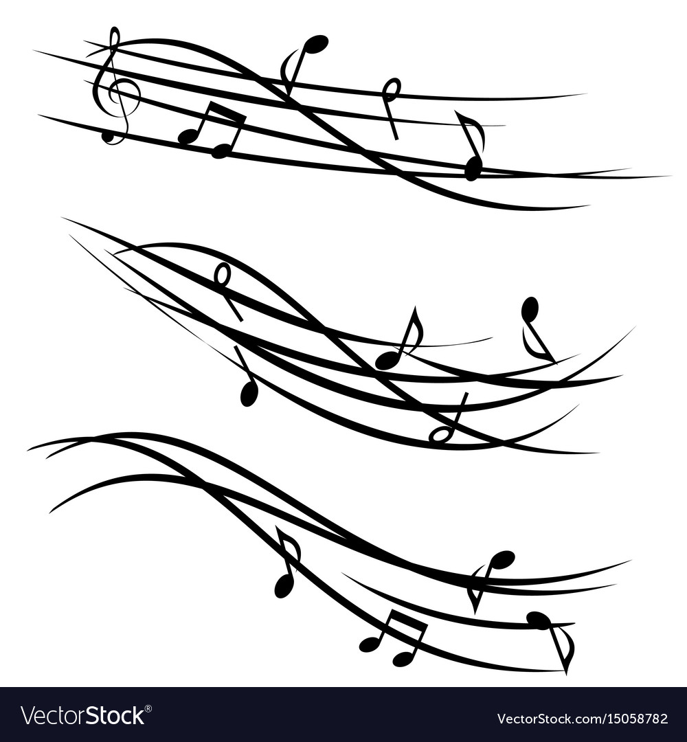 Music notes on ornamental staves vector image