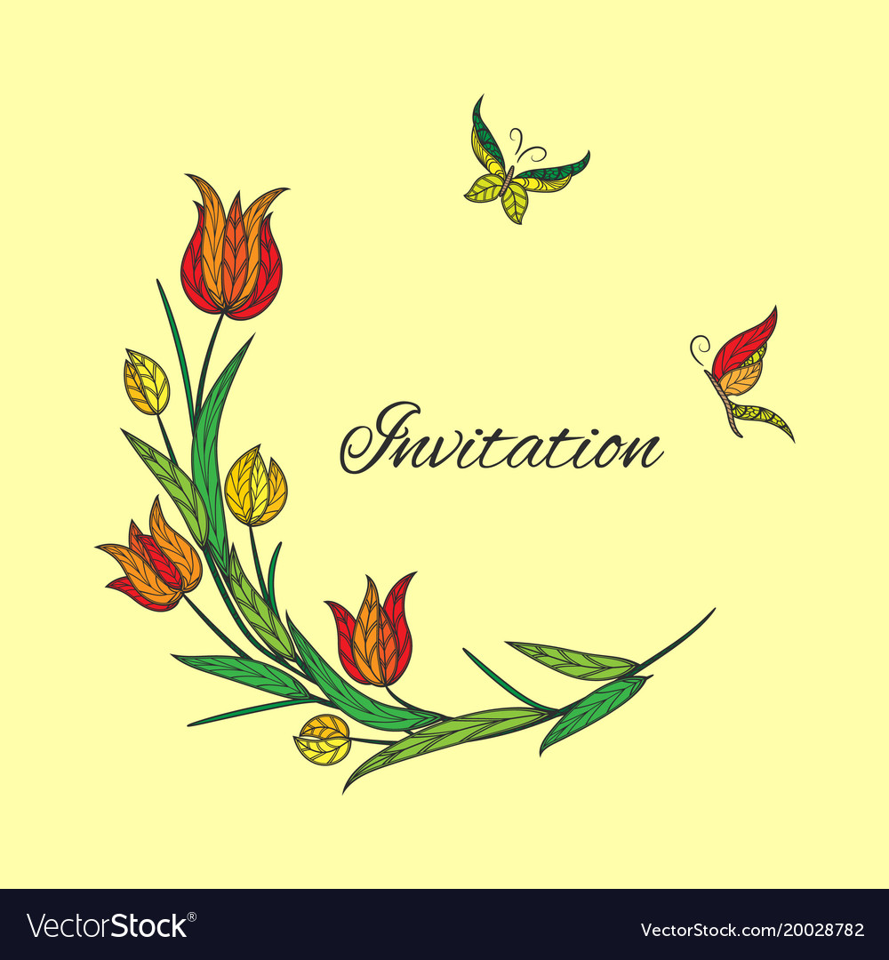 Orange tulip invitation with butterfly