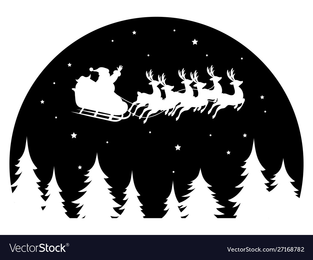 Santa claus flying in a sleigh drawn deer over