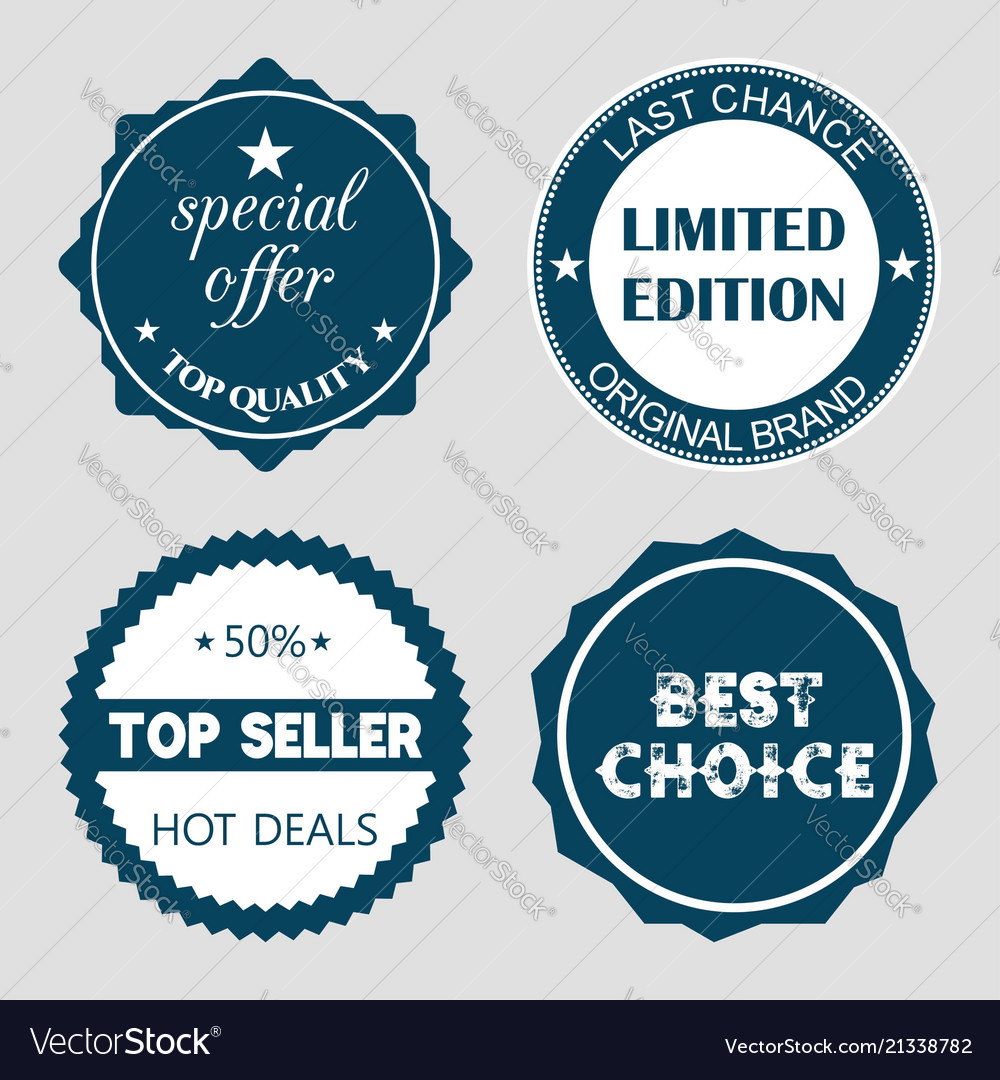 Set of flat design sale stickers for online vector image