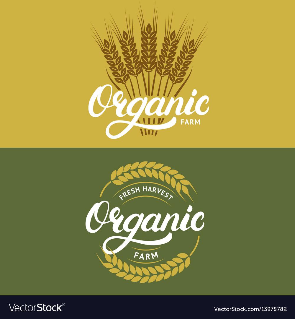 Set of organic farm hand written lettering logos