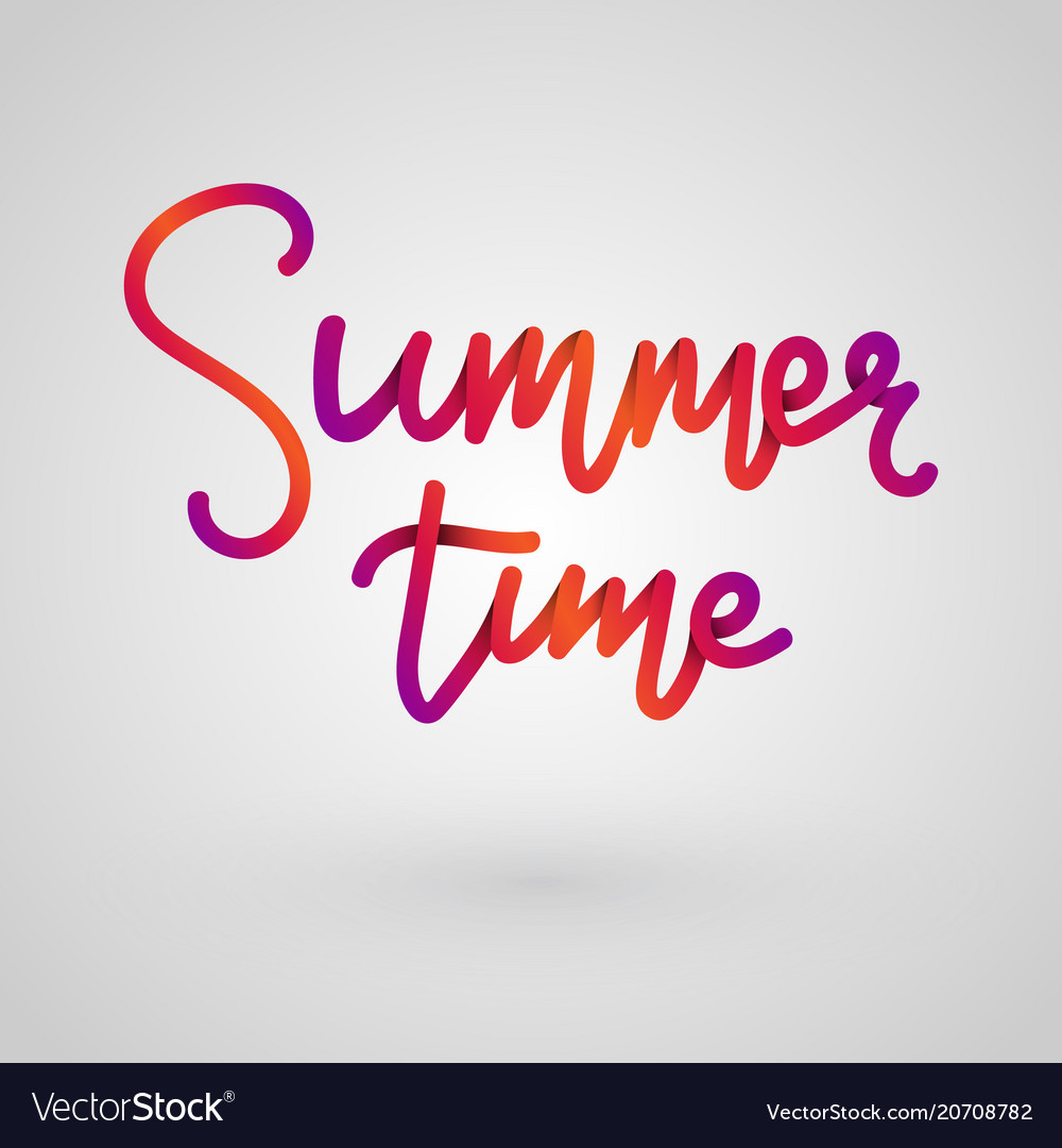 Summer time lettering paper cut color lettering vector image