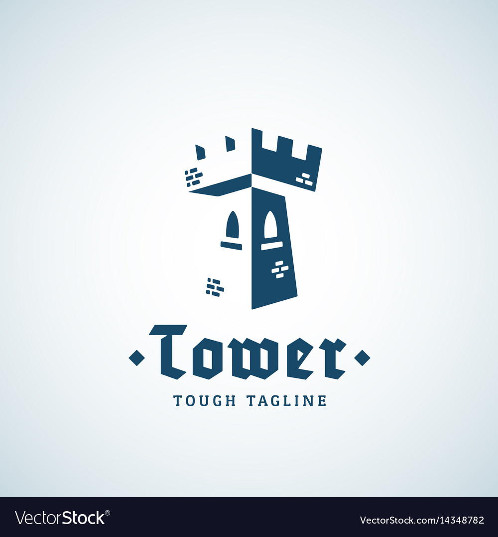 Tower as a letter t abstract sign emblem