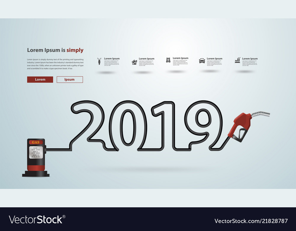 2019 new year with gasoline pump nozzle creative