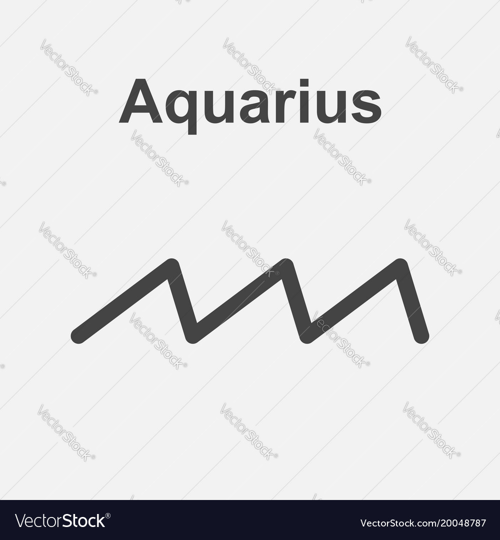 Aquarius Zodiac Sign Flat Astrology On White Vector Image