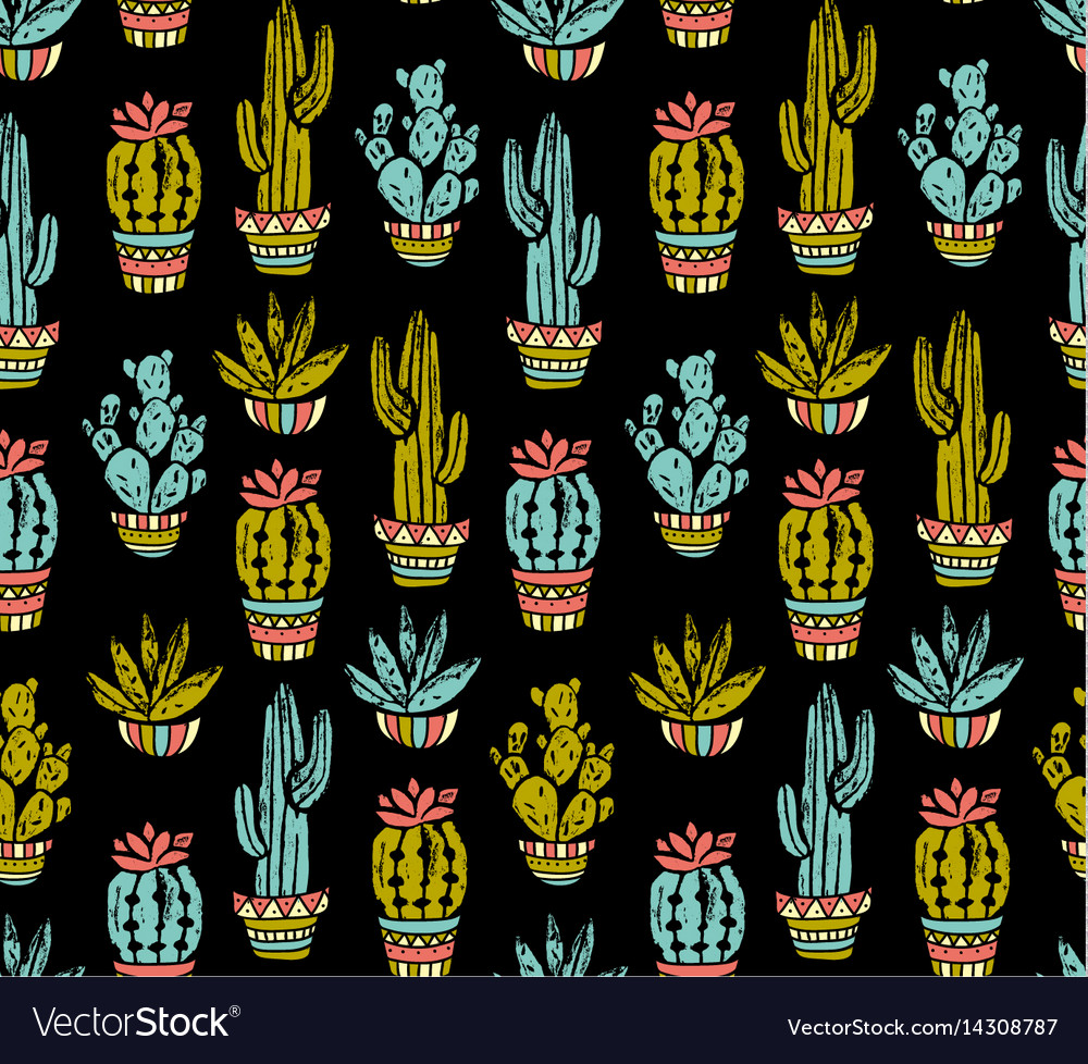 Cactus hand-drawn seamless pattern grunge