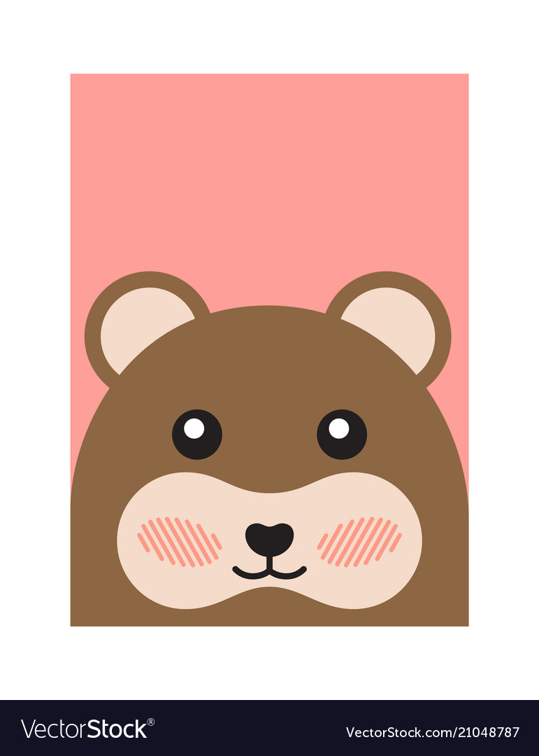 Cheerful bear portrait isolated on pink background vector image