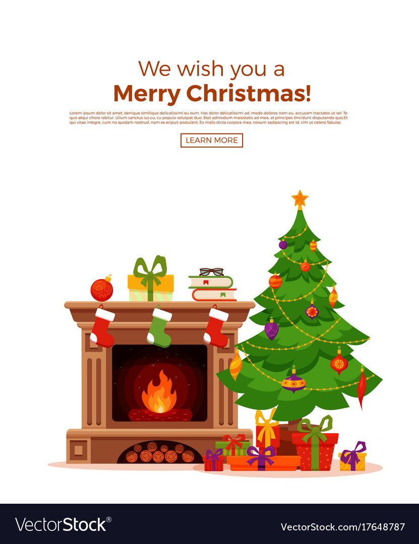 Christmas room interior in colorful cartoon flat