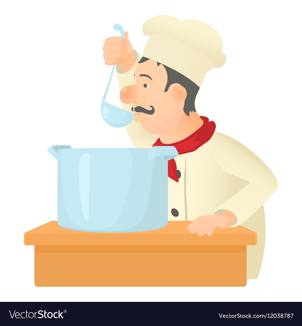 Cooking chef icon cartoon style